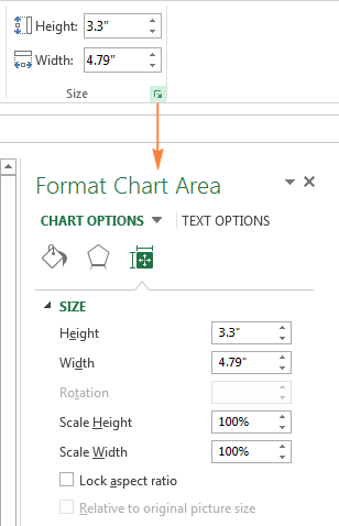 Changing the chart's size