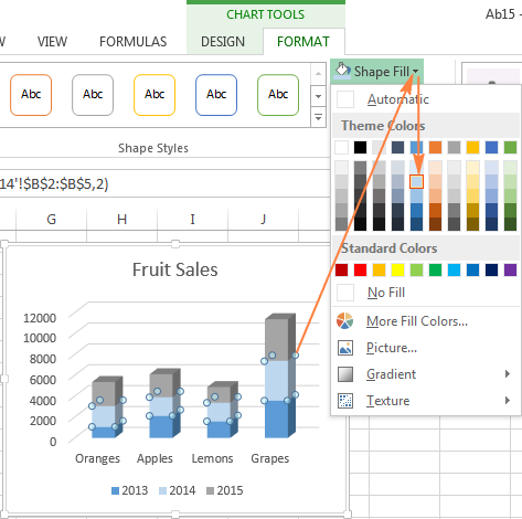 Excel charts add title customize chart axis legend and data labels changing the color of the selected data series ccuart Choice Image
