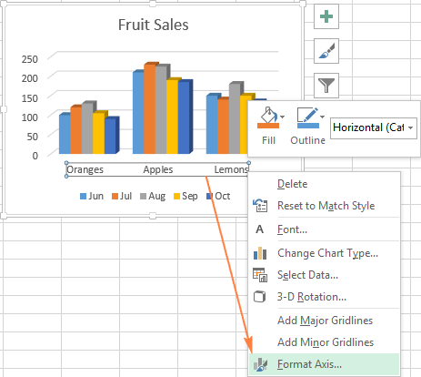 Excel charts add title customize chart axis legend and data labels right click on the horizontal axis and select format axis in the context ccuart Images