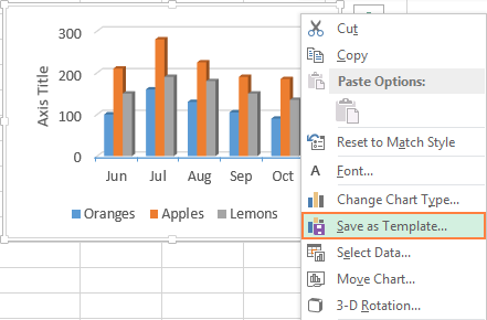 create excel chart template