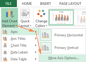 Click Add Chart Element > Axes > More Axis Options… on the ribbon.