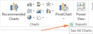 Click the Dialog Box Launcher next to Charts to see all chart types.