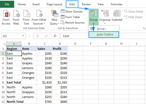 Use Excel's Auto Outline option to group rows automatically.