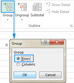 Group the rows manually.