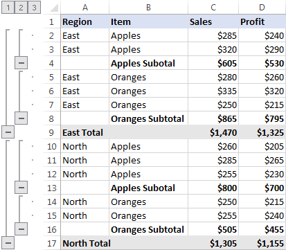 Excel outline with nested groups