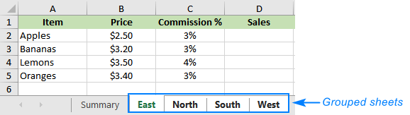 Grouping worksheets in Excel