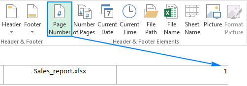 Insert the page number in the right header box.