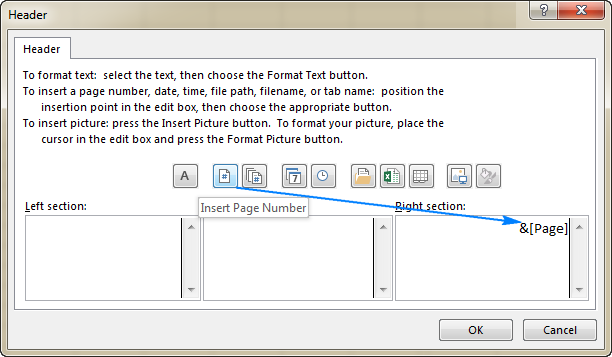 Add a page number to the right hand side of an Excel header.