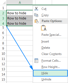 Hide rows in Excel via the right-click menu.
