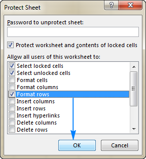 Allow hiding and unhiding rows in a protected workbook.
