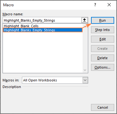Running a macro to highlight blank cells in Excel