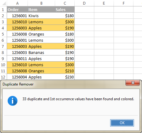 Duplicate rows are highlighted with the selected color.