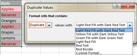 Highlighting duplicates with the default Light Red Fill and Dark Red Text format