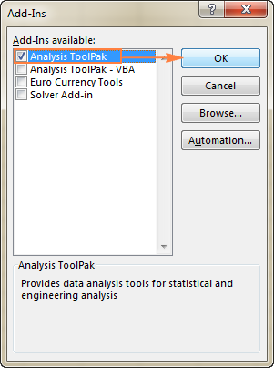 Enable the Analysis ToolPak add-in.