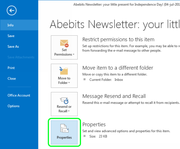 How to View All Message Headers in Outlook 2016, 2013 - 2007