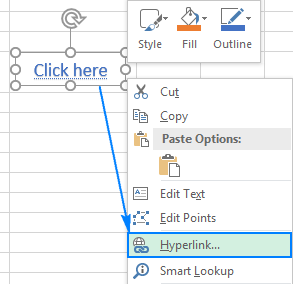 Use the object's context menu to make it a hyperlink.