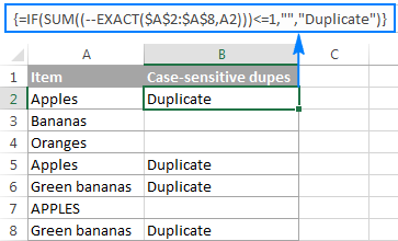 Identifying case-sensitive duplicates in Excel