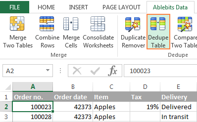 Click the Dedupe Table button to quickly find duplicates in a list.