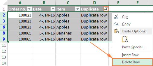Removing entire duplicate rows in Excel