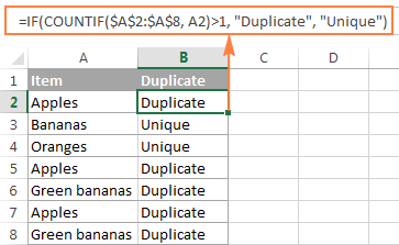 An improved formula to identify duplicate and unique values in Excel