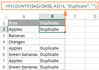A formula to identify duplicates only