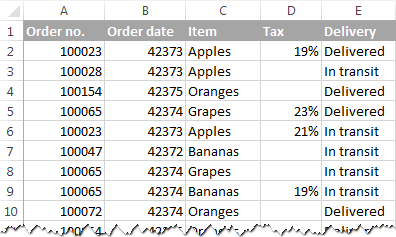 An Excel table to search for duplicates