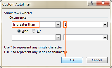 Filter duplicate occurrences greater than 1.