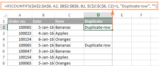 A formula to find duplicate rows in Excel