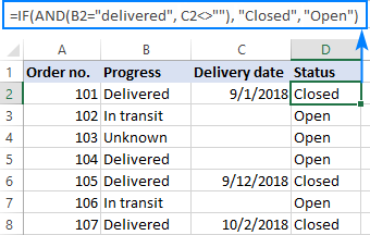 IF AND formula in Excel