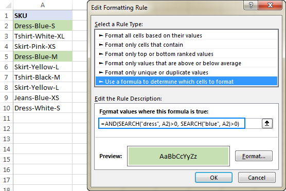 Excel conditional formatting formula: if cell contains with multiple conditions