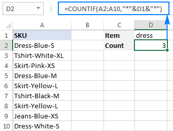 Count cells that contain a specific substring (partial match)