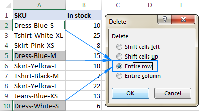 If a cell contains certain text, remove the entire row.