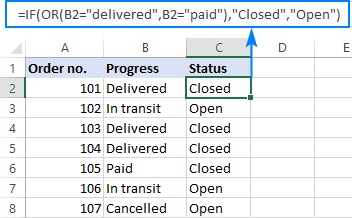 IF OR statement in Excel