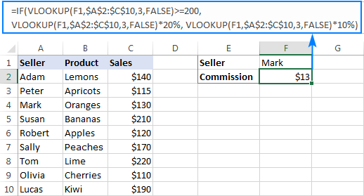 Excel If Vlookup formula to perform different calculations
