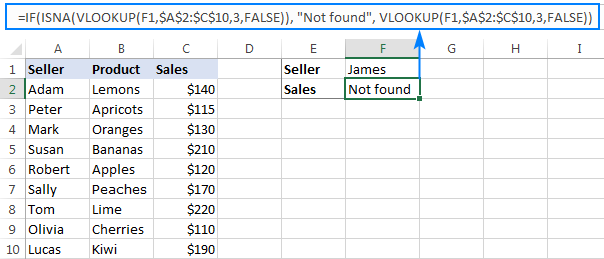 If the lookup value is not found, IF ISNA VLOOKUP returns custom text instead of the N/A error.