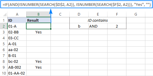 Excel IF AND formula with wildcards