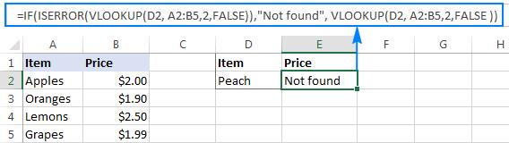 IF ISERROR VLOOKUP formula in Excel