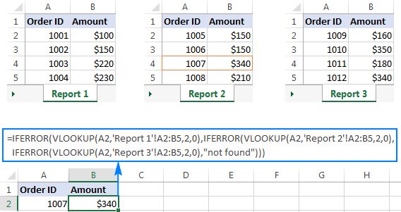 Nested IFERROR functions to perform sequential Vlookups