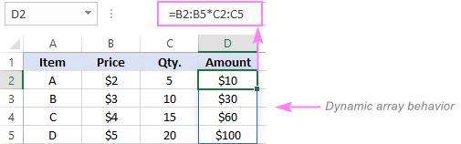 Dynamic array formula in Excel 365
