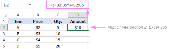Implicit intersection operator in Excel 365