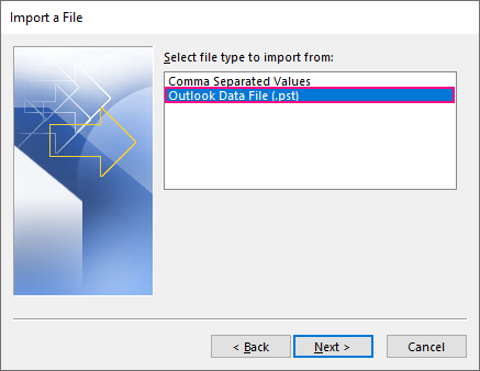 Importing contacts from a PST file