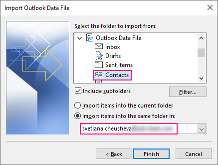 Choose the folder to import the contacts to.
