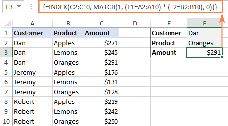 The INDEX MATCH to look up with multiple criteria in Excel
