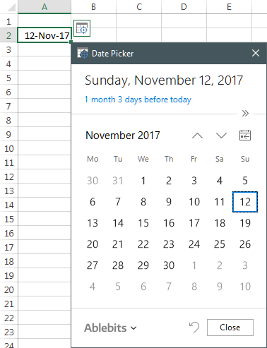 Ablebits drop-down calendar for Excel