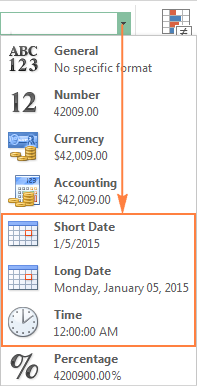The default short or long date formats in Excel
