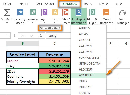 Click on HYPERLINK in the Lookup & Reference drop-down menu to start entering the formula