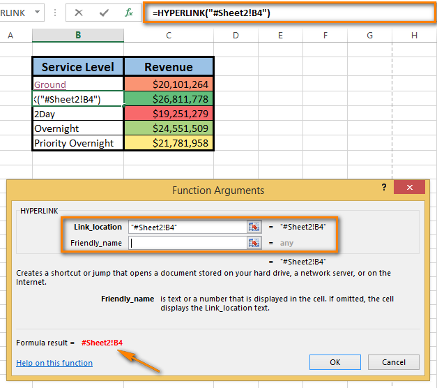 Add the number sign before the specified location to indicate that the location is within the same workbook