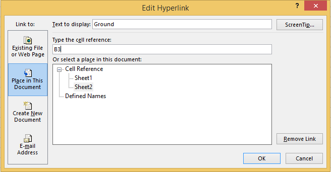 Make changes in the appropriate fields of the Edit Hyperlink dialog