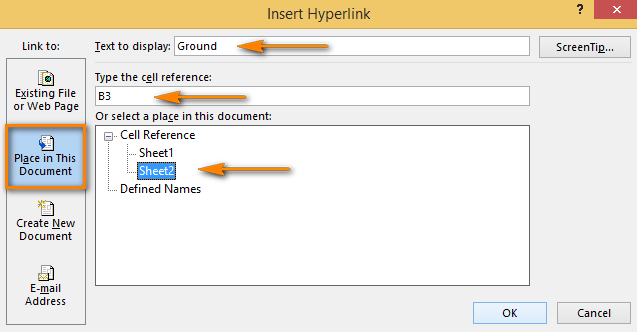 Choose the worksheet and enter the cell address to add a hyperlink