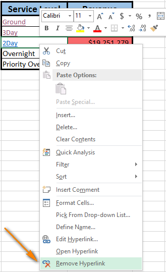 Right-click on the cell and choose Remove Hyperlink to delete the hyperlink from the worksheet